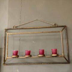 Gouden CottonCounts Mooie wandrek met waxinelichthouders voor aan de muur of wand, 60x13x35 cm