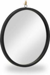 Relaxdays wandspiegel rond zwart - spiegel 40 cm - badkamerspiegel metaal - frame met touw