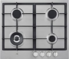 Roestvrijstalen Etna KG959RVSA inbouw gaskookplaat met wokbrander en gietijzeren pannendragers