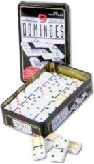 Domino spel dubbel 9/double 9 in blik en 55x gekleurde stenen - Dominostenen - Domino spellen - Familie spellen