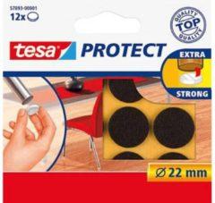 12x Tesa meubelvilt rond bruin 2,2 cm - Klusbenodigdheden - Huishouding - Vloerbescherming - Beschermvilt - Meubelvilt - Viltglijders - Anti-kras vilt