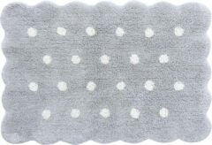Grijze Lorena Canals - Wasbaar vloerkleed - Mini Biscuit Pearl Grey - 70 x 100 cm
