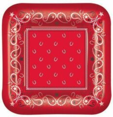 Rode Fun & Feest Party Gadgets Boeren zakdoek bordjes 8 stuks