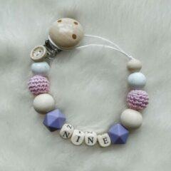 Babybeads - Speenkoord met naam - lila/paars met wit