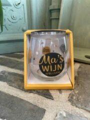 Gouden Creaties van hier Wijn - water glas / Ma's wijn afblijven / wijnglas / waterglas / leuke tekst / moederdag / vaderdag / verjaardag / cadeau