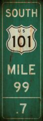 Groene Signs-USA Verkeersbord - Mile Marker Amerika - South 101 - grunge - Wandbord - 55 x 20 cm