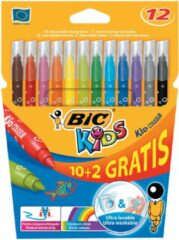 Bic Kids Kid Couleur viltstiften, etui 10 + 2 gratis.