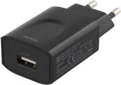 Deltaco B.V DELTACO USB-AC159, Wandoplader 100-240V tot 5V USB, 2.4A, 12W, 1xUSB-A poort, zwart