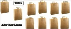 Thema party 100x Papieren tas 32x15x43cm bruin kraft met platte handgreep - tas papier draagtas food tas