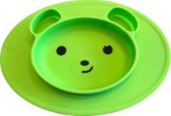 KidZzz Bordje met zuignap + baby lepel – placemat met geïntegreerd bord – antislip placemat – Bordje Beer voor baby's, peuters en kinderen - siliconen – groen