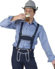 Beige Funny Fashion Boeren Tirol & Oktoberfest Kostuum | Gunther Tirol Ruitjesblouse Man | Maat 48-50 | Bierfeest | Verkleedkleding