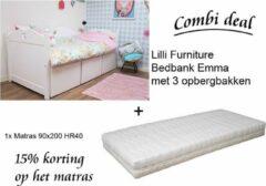 Lilli Furniture - Emma bedbank met 3 mega bakken - Inclusief HR40 koudschuim matras - inclusief lattenbodem - 90x200cm - wit
