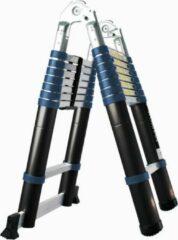 Blauwe AL Ladder, Telescopische ladder 16 treeds 2.5m+2.5m=5m- Inklapbaar - Werkhoogte 5m,