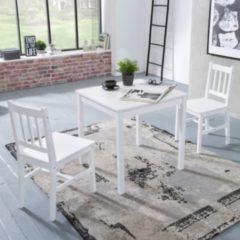 Wohnling Esszimmer-Set EMIL 3 teilig Kiefer-Holz weiß Landhaus-Stil 70 x 73 x 70 cm Natur Essgruppe 1 Tisch 2 Stühle Tischgruppe Esstischset 2 Perso