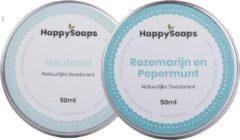 SET HappySoaps Deodorant NEUTRAAL & ROZEMARIJN EN PEPERMUNT Natuurlijk, vegan en handgemaakt
