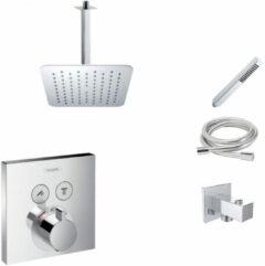 Hansgrohe + Mueller Hansgrohe Shower Select inbouw douchekraan met Mueller Cube 30cm douchekop en plafondarm regendouche chroom