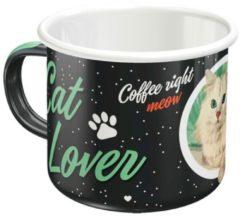 Nostalgic Art Merchandising Emaille Mok Cat Lover Zwart