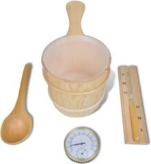 Bruine VidaXL Sauna accessoires: emmer + opgietlepel. zandloper. thermo-vochtmeter