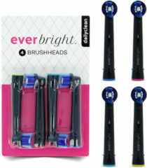Oral-B geschikte opzetborstels - Everbright DailyClean Zwart opzetborstels - 4 stuks | Geschikt voor Oral-B tandenborstels | Black --- Limited Edition
