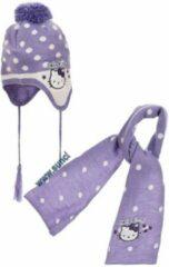 Paarse Hello Kitty - Winterset - Muts & Sjaal - Violet - Hoofdomtrek: 48 cm - 100% Acryl