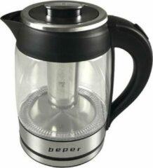 Zilveren Beper Italia design - Glazen waterkoker en theepot -1,8L