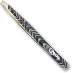 """Credo """"Design"""" Pincet-Schuin-Exclusief-Zebra-9,5 cm."""