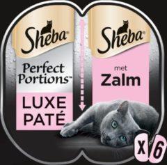 Sheba Perfect Portfions - Luxe Paté met zalm - Kattenvoer - 6 x 37.5g