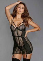 Zwarte Merkloos / Sans marque Stretch Lace Underwire Garter Slip - Black - Maat S - Lingerie For Her - black - Discreet verpakt en bezorgd