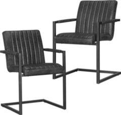 Wohnling 2er Set Esszimmerstühle MAGNUS Vintage schwarz 55x86x50 cm Metallgestell Mikrovelour Freischwinger in Wildlederoptik Meetingstühle mit schw