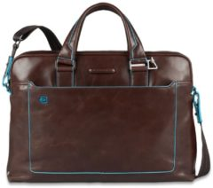 "Piquadro Blue Square Double Handle Computer Portfolio Briefcase 14"" Mahogany"