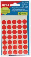 Rode Apli ronde etiketten in etui diameter 13 mm, rood, 175 stuks, 35 per blad (2057)