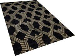 Beliani Vloerkleed zwart/goud 140 x 200 cm VEKSE