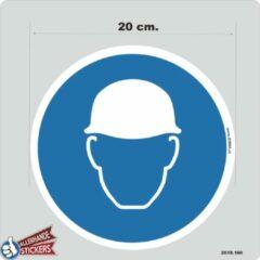 Blauwe Allerhande Stickers Veiligheidshelm verplicht sticker 20cm.