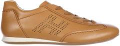 Marrone Hogan Scarpe sneakers donna in pelle olympia h bucata