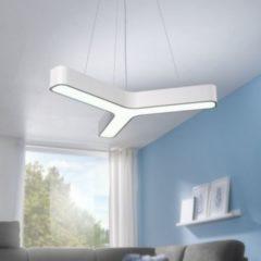Wohnling LED-Pendelleuchte Y-FORM Matt weiß Metall EEK A+ Büro-Deckenlampe 36 Watt 80 x 107 x 80 cm Design Arbeitsplatz Hängelampe 3060 Lumen kaltwei