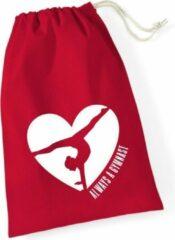 Sparkle&Dream Leertjes/Lusjes Tasje 'Love Gymnast' Rood, voor turnen en gymnastiek
