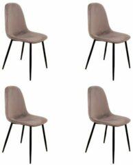Roze PoleWolf - Blossom chair - Velvet - Grey - Promotion - Set of 4