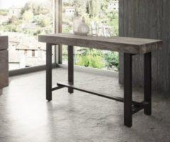 DeLife Stehtisch Blokk Akazie Platin 165x60 cm Massivholz Metallgestell Bartisch