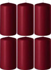 Enlightening Candles 6x Bordeauxrode cilinderkaarsen/stompkaarsen 6 x 10 cm 36 branduren - Geurloze kaarsen bordeauxrood - Woondecoraties