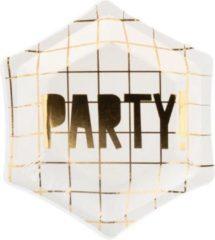 PartyDeco Borden Let's Celebrate - Party!, 12.5 cm (1 zakje met 6 stuks)