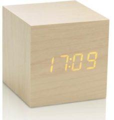 Bruine Gingko - Gingko Cube Click Clock Esdoorn led oranje