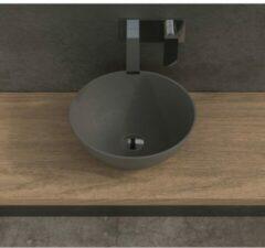 Ideavit Solidthin opbouw wastafel 39x39x14.5cm rond 0 kraangaten 1 wasbak Solid surface donkergrijs 290028