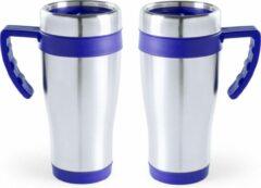 Carson 2x stuks rVS thermosbeker/warmhoud koffiebekers blauw 500 ml - Isoleerbekers/reisbekers