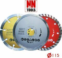 N&N Tools Turbo Diamantdoorslijpschijven Professional Multi Pack - 3 x 115 mm | Wet & Dry