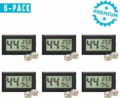 Qitch & Quisine Hygrometer Met Batterijen - Zwart - Inclusief Thermometer - Digitale Luchtvochtigheidsmeter - Voor Binnen & Buiten - 2 in 1 - Set van 6