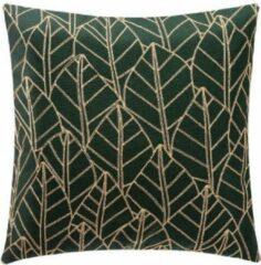 CASA DI ELTURO Fluwelen Kussen Leaf - Groen - Goud - Velvet - 40 x 40 cm (incl. vulling)