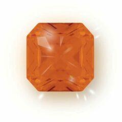 Quiges - Eligo Verwisselbaar Glas geslepen 12 mm Vierkant Zirkonia Oranje voor Zilveren Ring - 12 mm - ER12S009