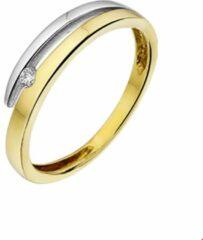 Quickjewels huiscollectie Bicolor Gouden Ring diamant 0.035ct H SI 17.00 mm (53)