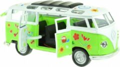 Toi Toys BV Flower Power Bus Metal Pull Back met licht en geluid (Groen) 18 cm Toi-Toys - Modelauto - Schaalmodel - Model auto
