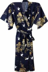 TA-HWA Traditionele Japanse Kimono Yukata Kraanvogel Blauw Dames Nachtmode kimono One Size